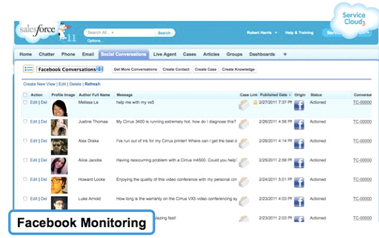 Salesforce's monitoring screens for Facebook and Twitter