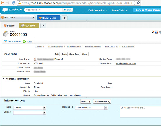 Creating a new case in Saleforce's Service Cloud