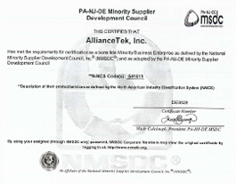 Minority Business  Enterprise  Certification by PA-NJ-DE MSDC.
