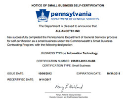 Small Business  Certification by  Pennsylvania Department  of General Services
