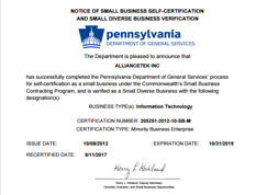 Small Business  Certification by  Pennsylvania Department  of General Services.